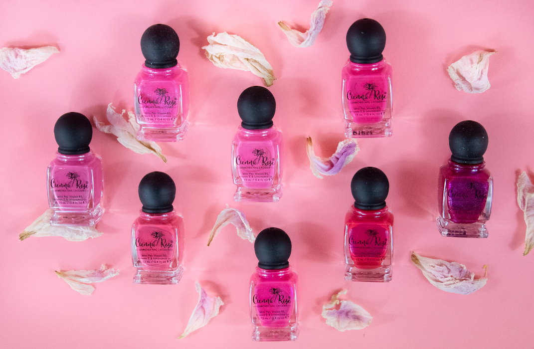 Cienna Rose nail polishes pinkerbell tickledpink shoppingspree candygirl standingovaton pink lemonade piningabout you the fuschia is bright lifestyle