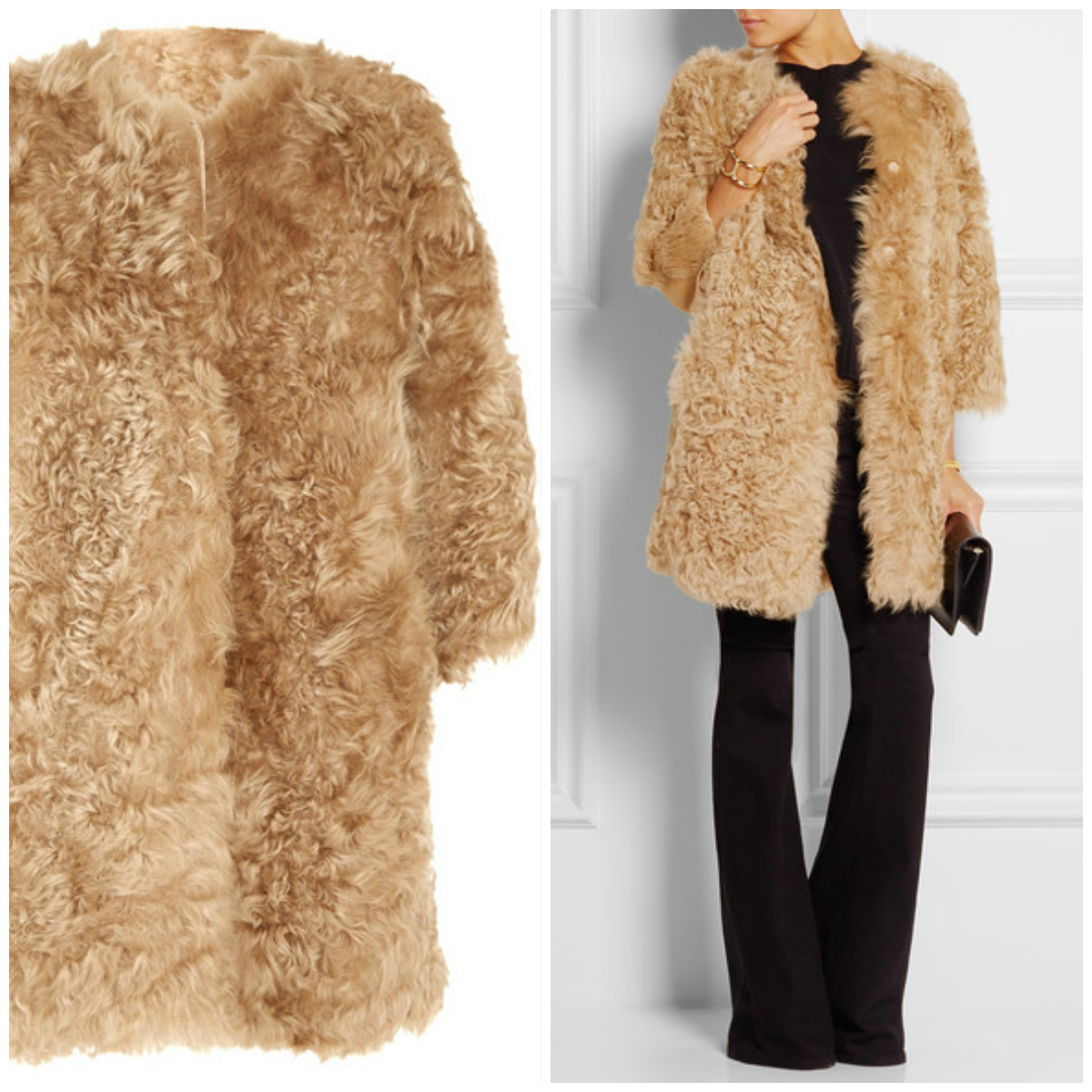 GIAMBATTISTA VALLI Paneled shearling coat