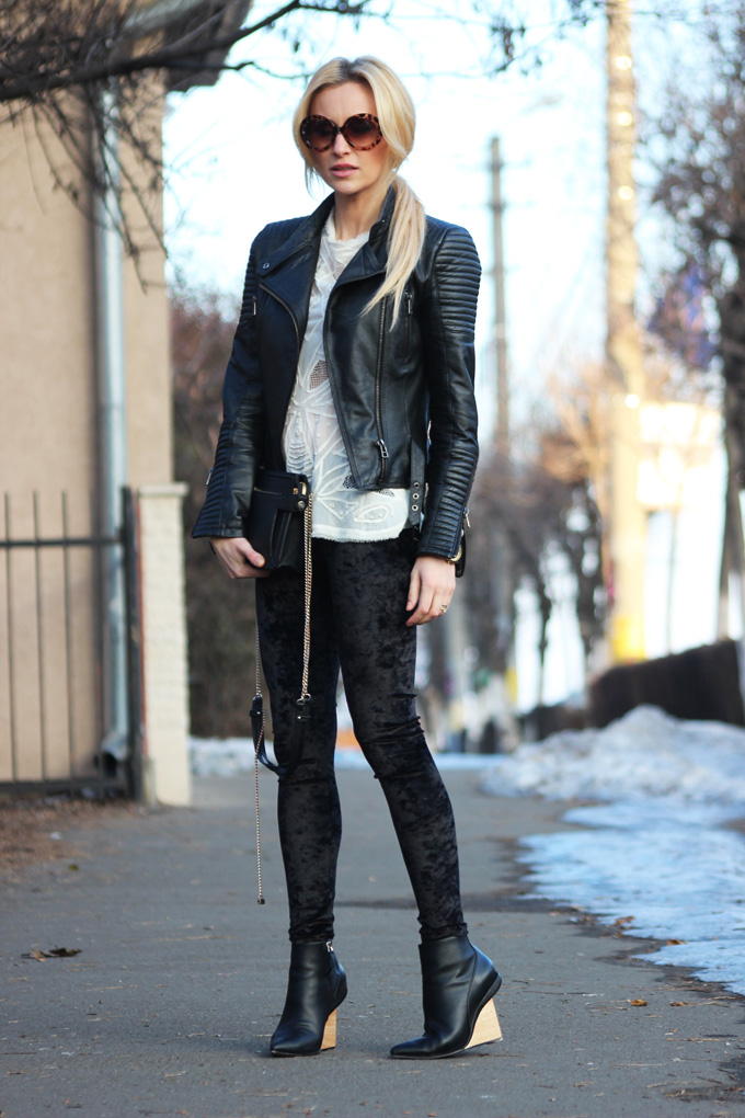 2. velvet pants with leather jacket