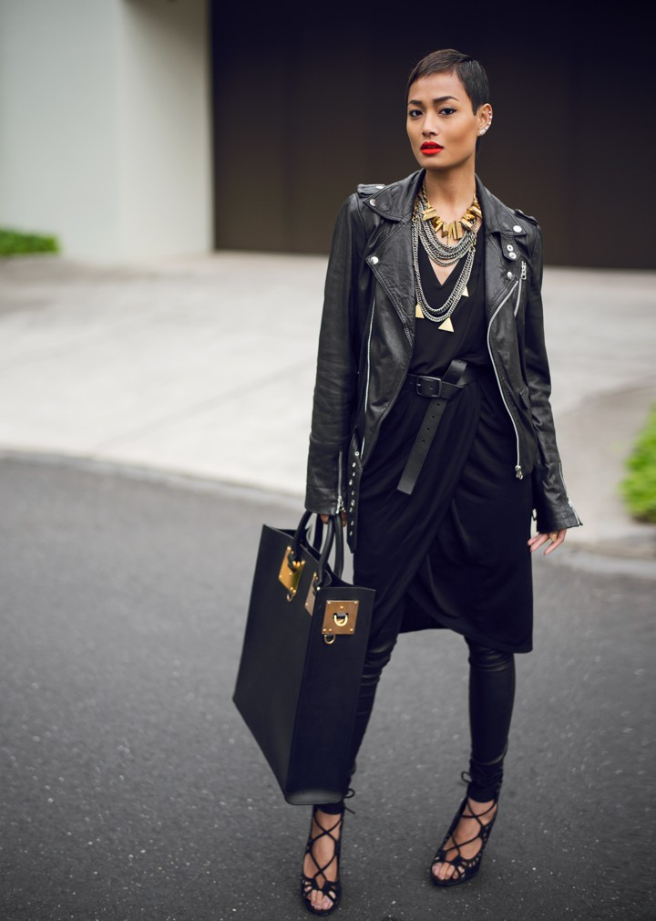 Black leather jacket outfit