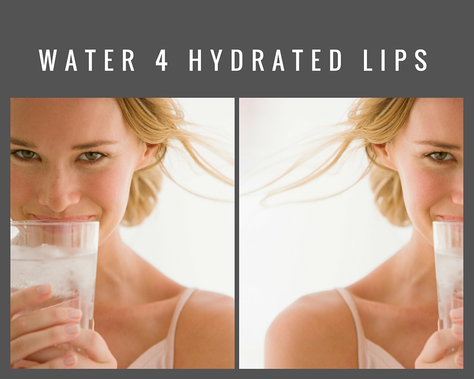 water hydrated lips