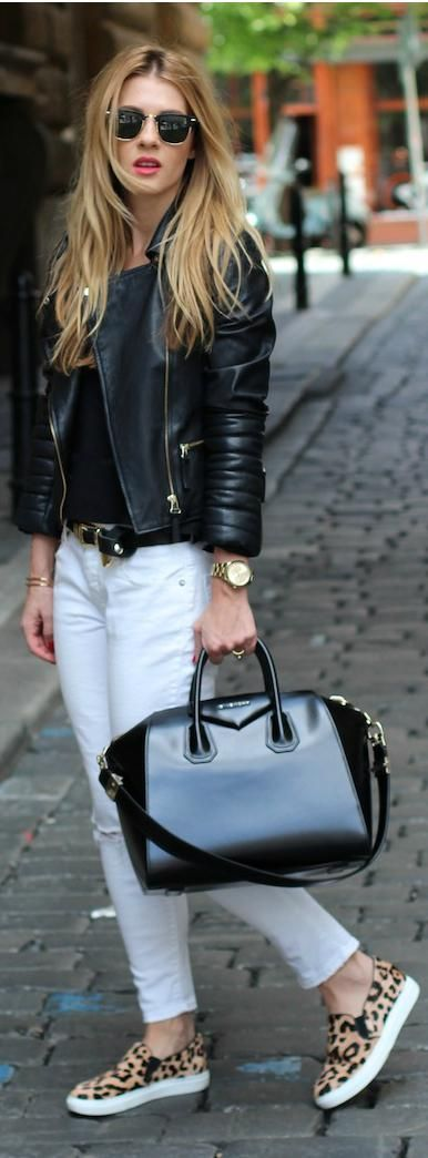 white jeans with leather
