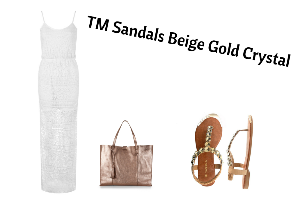 TM Sandals Beige Gold Crystal