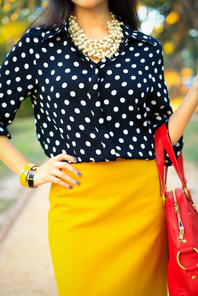 mustard and polka dots pinterest