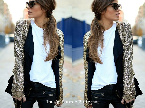 sequin gold blazer