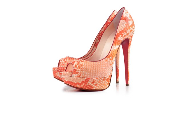 Louboutins orange snnake print  shoe