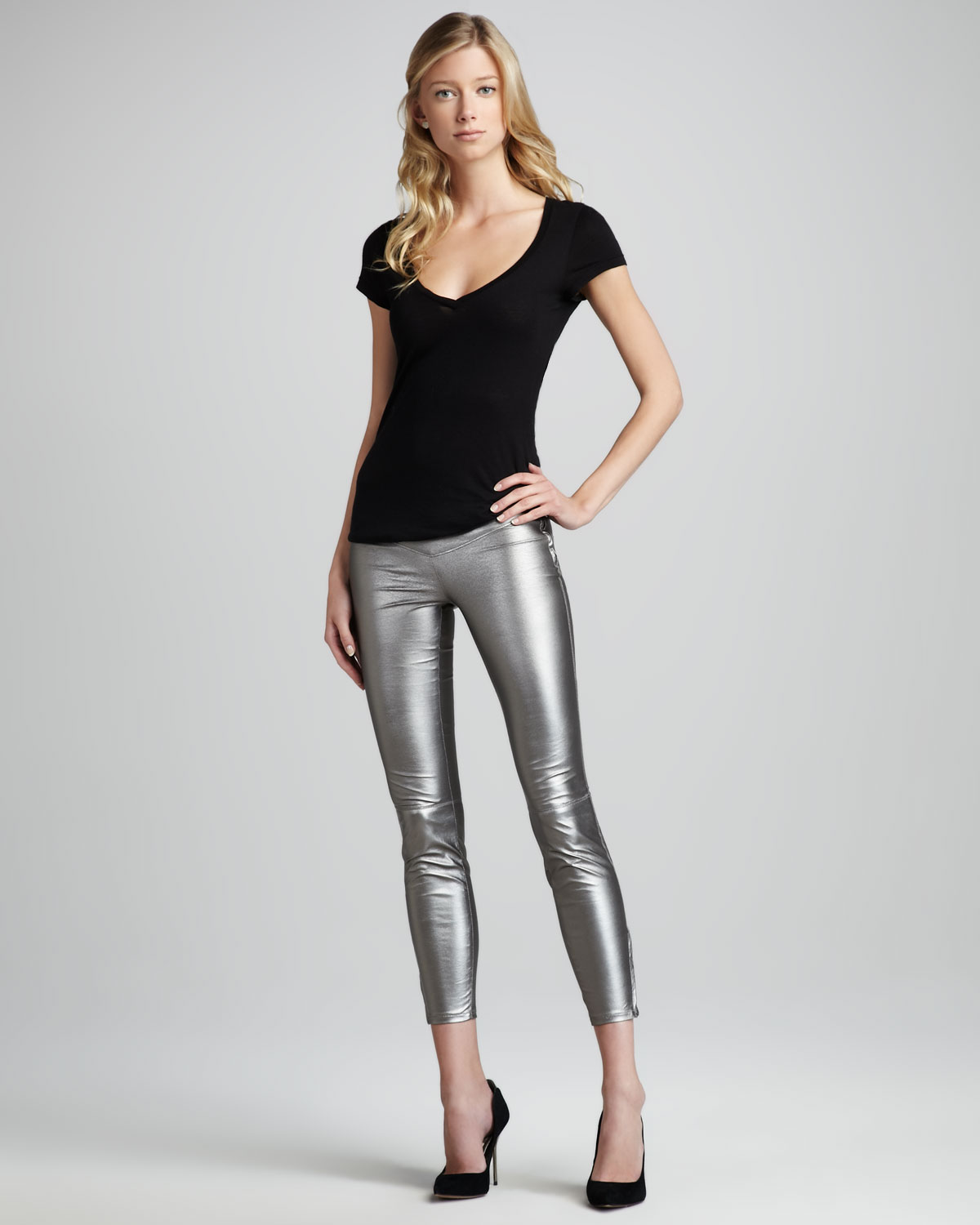 Blank Faux Leather Leggings Gray