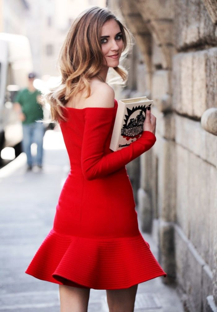 fit and flare peplum off the shoulder dress