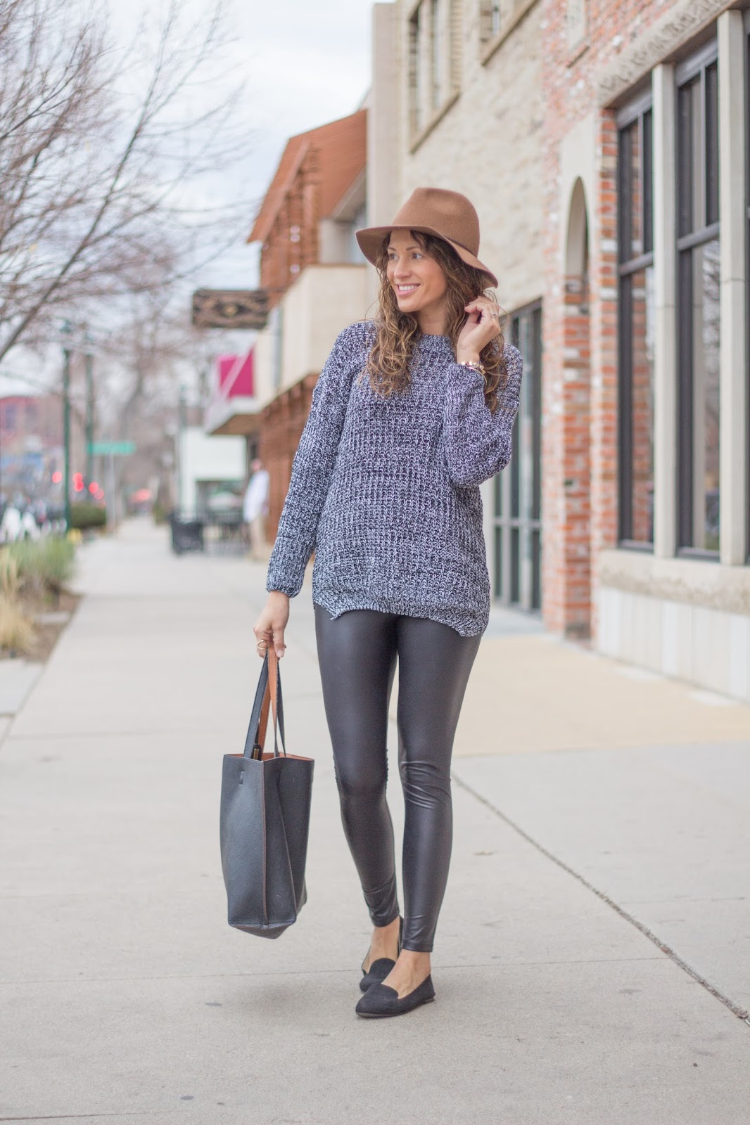oversized sweater leather leggings hat flats 8