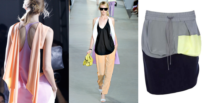 a4e03d045c Philip Lim  paying homage to the girl s netball team favourite racer- back  and pastel shades of lilac and orange not seen combined together since the  ...